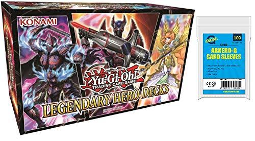 A YuGiOh! Legendary Hero Decks - LEHD | DEUTSCH | Yu-Gi-Oh! Karten NEU | + Arkero-G 100 Small Soft Sleeves japanische Kartenhüllen