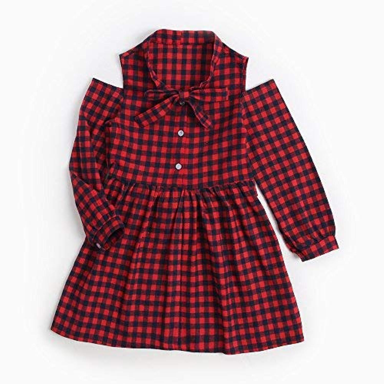 junliuTT タータンチェック 女の子 ドレス 赤 パーティー ファッション 服 弓 長い スリーブ 韓国子供服 入学式 卒業式 休日 子供ワンピ9-10歳/ 140cm|KDW7120