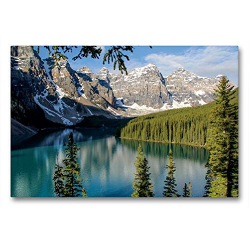 CALVENDO Premium Textil-Leinwand 90 x 60 cm Quer-Format Moraine Lake, Banff National Park, Canada, Leinwanddruck von Frank Zimmermann
