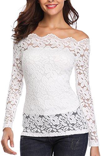 Miss Moly Damen Schulterfrei Oberteile Langarmshirt Vintage Spitze Bluse Tuniken Elegant Weiß - M
