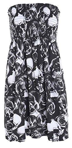 Damen Trägerloses Bandeau-Kleid, Jersey, Übergröße, Größe 36-50 Gr. 38/40 DE M/L, Totenkopf Rose