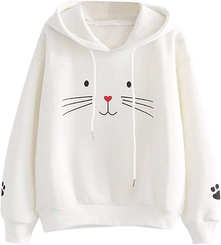 TANLANG Woman Girls Sweater Cartoon Cat Print Hoodie Pullover Long Sleeve Sweatershirt Casual Loose Blouse Tops Tunic