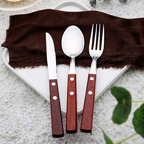 Authda 18 pcs Cutlery Sets with Steak Knives Stainless Steel Wooden Handle Dinner Sets Knife Fork Spoon Set Tableware