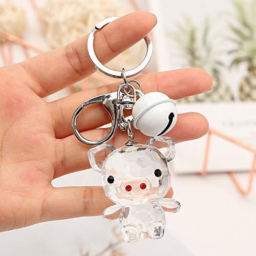 Llavero Transparente Campana Colgante 45 * 35mm Cuerda de Cuero Blanco + Cerdo de Cristal Blanco