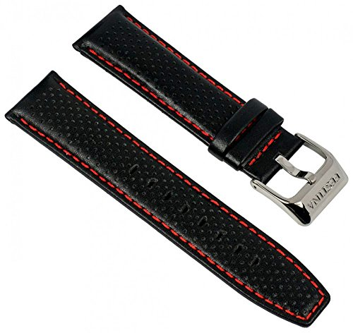 Festina Uhrenarmband Ersatzband Leder Band mit Kontrastnaht 23mm für alle Modelle F16585, Farben:schwarz / rot