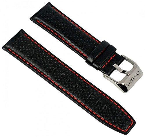 Festina Uhrenarmband Ersatzband Leder Band mit Kontrastnaht 23mm für alle Modelle F16585, Farbe:schwarz/rot
