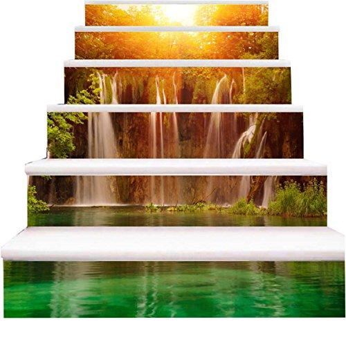 Pegatinas de pared 3D para escaleras, diseño de cascada, color plateado, Plateado, 100*18cm*6pcs