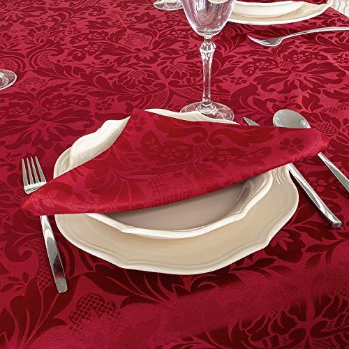"""Mantel de mesa color burdeos. Tratamiento antimanchas. Tamaños grandes, ref. Milano, 80% algodón, 20% poliéster., Burdeos., 6 Napkins 18 x 18"""" (45 x 45cm)"""