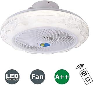 HKLY Ventilador de Techo LED Lámpara, Ventilador Invisible Regulable Luz de Techo con Control Remoto Ventilador Silencioso para Sala De Estar Dormitorio Habitación Infantil, Temporizador,Blanco