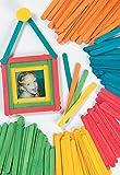 Baker Ross Bâtonnets de glace en bois colorés (lot de 200) - Matériel créatif pour enfants et adultes