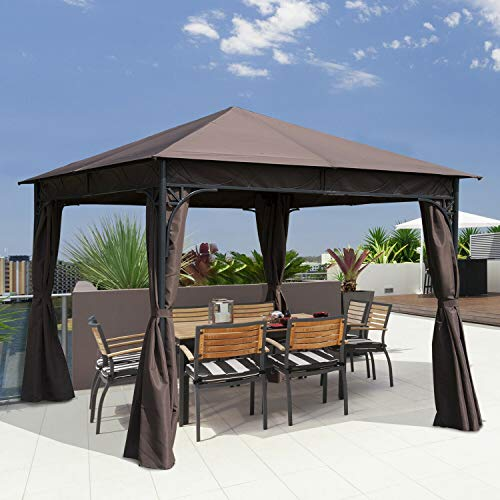 HUIJK 3m x 3m Garden Gazebo Metal Party Tent Patio Pavilion Marquee Canopy Outdoor New