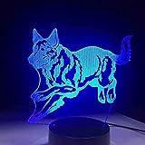 Nuevo Pequeños animales 3D Night Lights 7 colores cambiantes Led novedad animal perro lámpara de mesa Childhome cabecera decoración regalos remoto