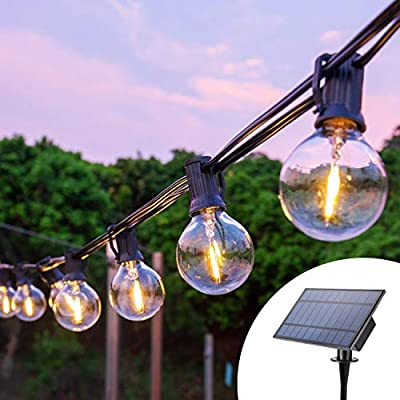Joomer Solar String Lights Outdoor, 32Ft 25 Sockets G40 Hanging Solar Lights, Patio String Lights Commercial Grade, Waterproof for Patio, Yard, Gazebo, Porch, Cafe, Bistro, Outdoors