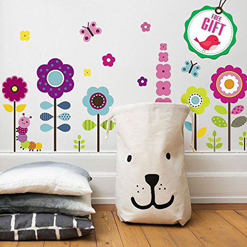 Flower Wall Stickers for Kids - Floral Garden Wall Decals for Girls Room - Removable Toddlers Bedroom Vinyl Nursery Wall Dcor [27 Art clings] with Free Bird Gift!