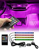 VIDEN Car LED Lights for Car Interior, 4PCS Car Interior Lights, Waterproof LED Interior Car Lights with Sound Sensor and Remote Control, USB Port Car Charger, Cool Car Accessories Underglow for Cars