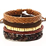 Brazalete de la pulsera de cadena, 4Pcs/Set Fashion Vintage Wood Bead Handmade Punk Feather Charm Female Femme Homme Male Men Leather Bracelet For Women Jewelry style 11