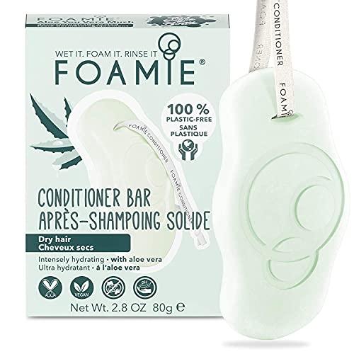 Foamie Fester Conditioner für trockenes Haar mit Aloe Vera, 100% vegan, plastikfrei, spendet dem Haar intensiv Feuchtigkeit, 80g