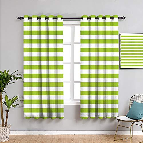 Pcglvie Limettengrüner Fenstervorhang, Vorhänge 213,4 cm Länge, horizontale Streifen, einfacher Aquarell-Pinsel,...