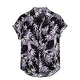 PLOK Camisa hawaiana para hombre, camisa de lino, camisa étnica con estampado de flores 3D, informal, con botones y botones para vacaciones en la playa Negro M