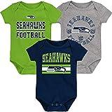 Outerstuff NFL Newborn Infants First and Ten 3 Piece Creeper Bodysuit Set (0/3 Months, Seattle Seahawks)