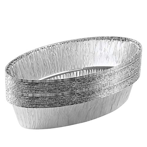 Plasticpro Disposable Oval Loaf pan 5 LB Aluminum Takeout Tin Foil Baking Pans Bakeware – Cookware Perfect for Baking Cakes,Brownies,Bread, Meatloaf, Pack of 20
