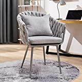 """Modern Accent Chair, Gray Fabric Chair Upholstered Arm Chair for Bedroom Clearance with Throw Pillow, 19""""H, 350LBS, Woven Linen Leisure Chairs for Living Room, Small Space, Office, Desk, Corner"""