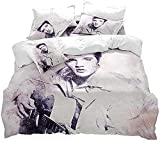 3D Funda de Nórdico y Fundas de Almohada Juego de Ropa para Cama Elvis Single(135X200 Cm), 2 Piece Set 1 Piece Quilt Cover + 1 Piece Matching Pillowcase