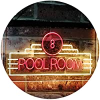 Pool Room 8 Ball Snooker Billiards Man Cave Dual Color LED看板 ネオンプレート サイン 標識 赤色 + 黄色 600 x 400mm st6s64-i2773-ry