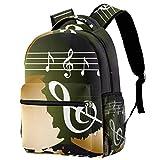 Mochila de notas musicales coloridas para colegio, para senderismo, viajes, para mujeres y hombres