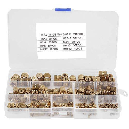 Tuerca moleteada, 210 piezas Cilindro de latón Rosca moleteada Inserto redondo Tuercas empotradas