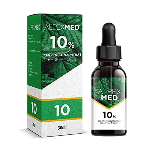 ALPEX-MED 10 Prozent Terpene mit Hanfsamenöl 30ml und Analysezertifikat. Die Tropfen enthalten Omega Fettsäuren und Vitamin E in Premium Qualität