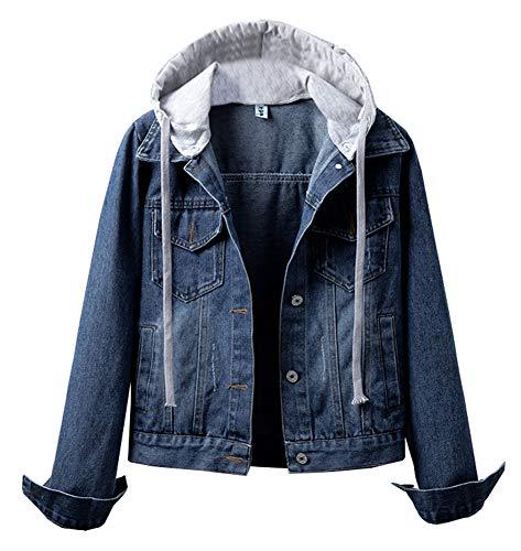 LifeShe Women's Detachable Hoodie Denim Jacket Jean Jackets with Hood (Deep Blue, L)