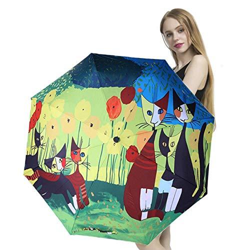 RONGXUE Compact Olieverfschilderij Paraplu Sneldrogende Reisparaplu, Versterkt Winddicht Frame Vouwen Zonnescherm Automatisch opent Sluitingen voor Gemakkelijk Draagbaarheid