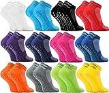 Rainbow Socks - Damen Herren Quarter Sport Socken ABS - 12 Paar - Mehrfarbig - Größen EU 39-41