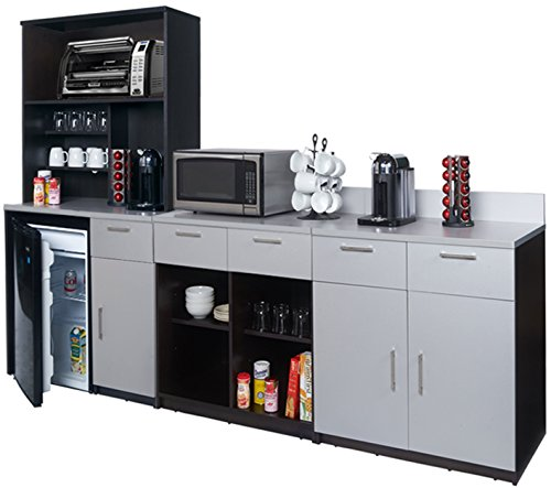 Coffee Kitchen Lunch Break Room Cabinets Model 4269 BREAKTIME 4 Piece Group Color Espresso/Silver Metalic - Factory Assembled (NOT RTA) Furniture Items ONLY.