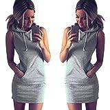 Allence Vestido de mujer para verano, sin mangas, informal, con capucha, vestido de estilo patinador, línea A, vestido medio, vestido de noche, vestido de cóctel, vestido de fiesta., gris, XL