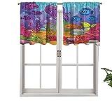 Hiiiman - Juego de cortinas pequeñas para ventana de cocina, cenefas de acuario, juego de 1, 91,4 x 45,7 cm para cocina, baño y cafetería