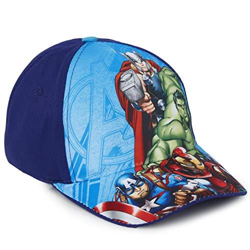 Marvel Avengers Baseball Cap Kinder, Basecap Kinder Jungen mit Spider Man, Thor, Captain America, Hulk und Iron Man, Verstellbare Sonnenhut, Geschenke für Kinder (Blau Avengers)