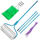 VEVOR Roller Weed Rake, Clean Aquatic Weeds Muck Silt Lake Rakes, Blue Color Lake Weed Cutter, Lake Weed Roller Rake with Extension Pole and Rope, Lake Weed Rake for Lake Pond Beach and Landscaping