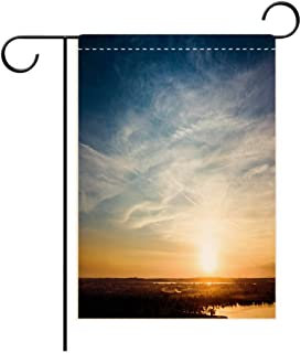 Hayden Harpergfxnjnjn1a Garden Flag Outdoor Flag House Flag Banner Absolutely Amazing Sunset Dusk Over The River with Blue Cloudy Sky Decorated for Outdoor Holiday gardens28x40in
