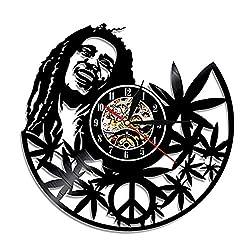 The Bob Marley Record Wall Clock LED Wall Clock 12 Quartz Clock | Home Decor Disney Gifts for Kids and Friends |Nostalgic Decorative Wall Clock
