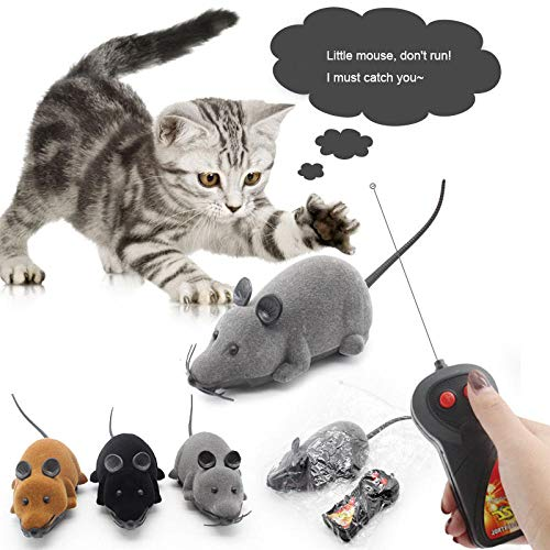 ZWMM katzenspielzeug elektrisch Maus,mit Fernbedienung Spielzeugmäuse,7 Meter Übertragungsentfernung katzenspielzeug Geeignet für Katzen/Kätzchen-grau
