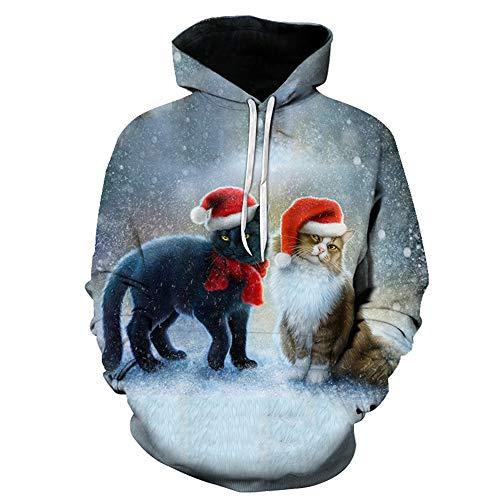 Impresión Digital 3D Muñeco de Nieve de Navidad Árbol de Navidad Pareja s 5XL 3D Animal Print Cool Unisex...