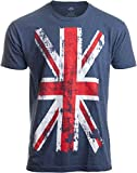 Union Jack Flag | UK United Kingdom Great Britain British for Men Women T-Shirt-(Adult,M) Vintage Blue