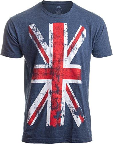 Union Jack Flag | UK United Kingdom Great Britain British for Men Women T-Shirt-(Adult,XL) Vintage Blue