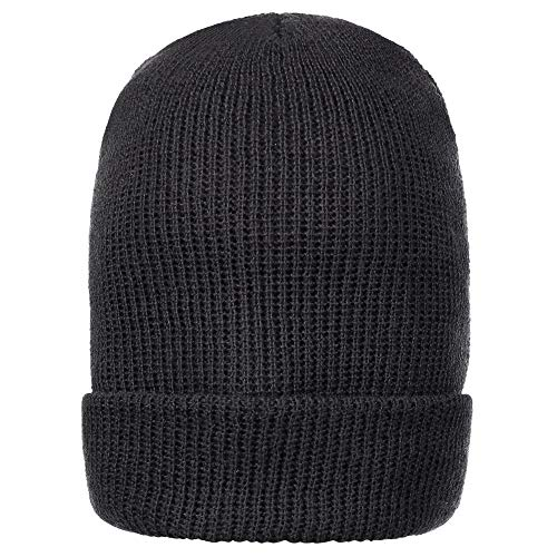 Warm Winter Watch Cap 100% Wool Beanie Made in USA to Military Specifications (1 Pack, Black)