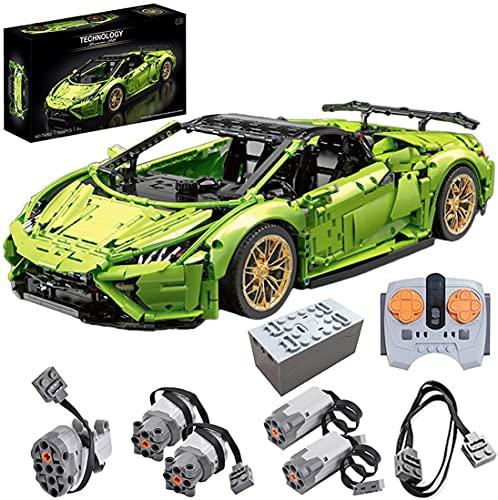 Modelo de Coche Deportivo para Lamborghini Huracán EVO, tecnología RC Grande con Mando a Distancia y Motores, Bloques de Montaje, Compatible con Lego Technic