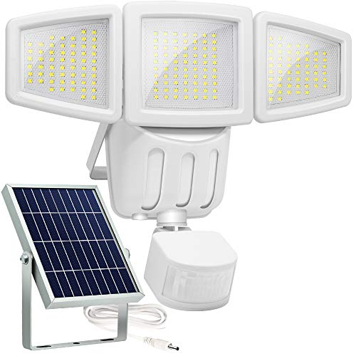 Upgrade Solar Lights Outdoor, Lovin Product Ultra Bright 182 LED Solar Motion Sensor Lights; Wide Angle Illumination/ 3 Adjustable Heads, Security Solar Wall Lights for Driveway, Deck