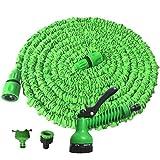 Viktion Flexischlauch Flexibler Wasserschlauch flexibel Gartenschlauch dehnbar 15M, 30M, 50M mit 7 Multifunktionsdüse (Grün-25FT)