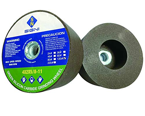 SIGNI 4 Inch Green Grinding Stone with 5/8-11 Thread (1 Pack, 4X2X5/8-11,120 Grit)